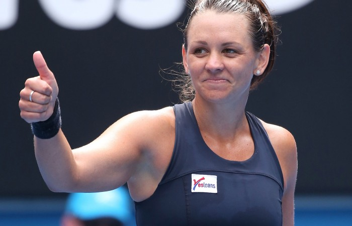 MELBOURNE, AUSTRALIA - JANUARY 20:  Casey Dellacqua of Australia celebrates winning her first round match against Yvonne Meusburger of Austria during day two of the 2015 Australian Open at Melbourne Park on January 20, 2015 in Melbourne, Australia.  (Photo by Michael Dodge/Getty Images)