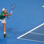 Matt Ebden in action during his Hopman Cup singles rubber against Jerzy Janowicz; Getty Images