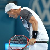 Lleyton Hewitt of Australia shows his frustration after losing the first set in his match against Sam Groth of Australia during day three of the 2015 Brisbane International at Pat Rafter Arena on January 6, 2015 in Brisbane, Australia.  (Photo by Bradley Kanaris/Getty Images)