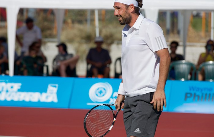 Marcos Baghdatis smiles during his semifinal against Andrew Harris in the 2015 City of Onkaparinga Challenger at Happy Valley.
