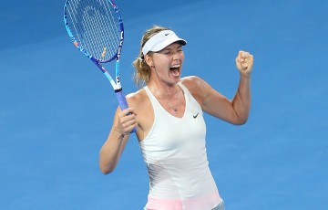 Maria Sharapova of Russia celebrates winning the Women's final match against Ana Ivanovic of Serbia during day seven of the 2015 Brisbane International at Pat Rafter Arena on January 10, 2015 in Brisbane, Australia.  (Photo by Chris Hyde/Getty Images)