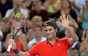 BRISBANE, AUSTRALIA - JANUARY 09: Roger Federer of Sweden celebrates victory after his match against James Duckworth of Australia during day six of the 2015 Brisbane International at Pat Rafter Arena on January 9, 2015 in Brisbane, Australia.  (Photo by Bradley Kanaris/Getty Images)