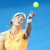 Samantha Stosur of Australia serves in her match against Varvara Lepchenko of the USA during day one of the 2015 Brisbane International at Pat Rafter Arena on January 4, 2015 in Brisbane, Australia.  (Photo by Chris Hyde/Getty Images)