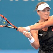 Samantha Stosur of Australia plays a backhand during a practice session ahead of the 2015 Brisbane International at Queensland Tennis Centre on December 31, 2014 in Brisbane, Australia.  (Photo by Bradley Kanaris/Getty Images)