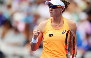 SYDNEY, AUSTRALIA - JANUARY 12:  Sam Stosur of Australia gestures after claiming the opening set in her first round match against Lucie Safarova of the Czech Republic during day two of the 2015 Sydney International at Sydney Olympic Park Tennis Centre on January 12, 2015 in Sydney, Australia.  (Photo by Brendon Thorne/Getty Images)