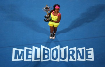 MELBOURNE, AUSTRALIA - JANUARY 31:  Serena Williams of the United States holds the Daphne Akhurst Memorial Cup after winning the women's final match against Maria Sharapova of Russia during day 13 of the 2015 Australian Open at Melbourne Park on January 31, 2015 in Melbourne, Australia.  (Photo by Quinn Rooney/Getty Images)