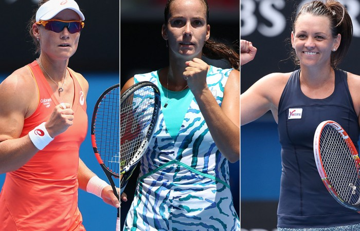Aussie women (L-R) Sam Stosur, Jarmila Gajdosova and Casey Dellacqua are contesting this week's Dubai Duty Free Tennis Championships; Getty Images