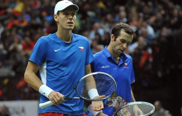 Tomas Berdych (L) and Radek Stepanek in action for the Czech Republic in Davis Cup; Getty Images
