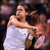 Andrea Petkovic in action during the reverse singles of the Australia v Germany Fed Cup tie in Stuttgart; Getty Images