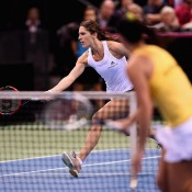Andrea Petkovic (L) in action against Jarmila Gajdosova during the reverse singles of the Australia v Germany Fed Cup tie in Stuttgart; Getty Images
