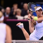 Olivia Rogowska in action during the doubles rubber of the Australia v Germany Fed Cup tie in Stuttgart; Getty Images