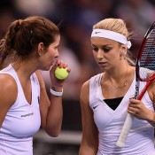 Germans Julia Goerges (L) and Sabine Lisicki in action during the doubles rubber of the Australia v Germany Fed Cup tie in Stuttgart; Getty Images
