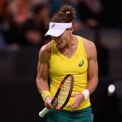 Sam Stosur in action during the reverse singles of the Australia v Germany Fed Cup tie in Stuttgart; Getty Images