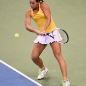 Jarmila Gajdosova in action during the reverse singles of the Australia v Germany Fed Cup tie in Stuttgart; Getty Images