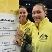 Australian Fed Cup singles players Sam Stosur (R) and Jarmila Gajdosova at the official draw ceremony; Paul Zimmer/ITF