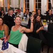 Sam Stosur (R) and Casey Dellacqua at the official Fed Cup team dinner; Paul Zimmer/ITF