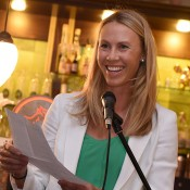 Australian Fed Cup captain Alicia Molik speaks at the Fed Cup official team dinner; Paul Zimmer/ITF
