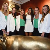 The Australian Fed Cup team of (L-R) captain Alicia Molik, Jarmila Gajdosova, Casey Dellacqua, orange girl Priscilla Hon, Sam Stosur and Olivia Rogowska at the Fed Cup official team dinner; Paul Zimmer/ITF