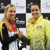 Jarmila Gajdosova (R) will take on Angelique Kerber (L) in the opening singles rubber; Paul Zimmer/ITF