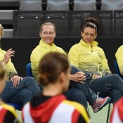 The Australian Fed Cup team of (L-R) captain Alicia Molik, Sam Stosur, Casey Dellacqua and Jarmila Gajdosova at the Fed Cup official draw; Paul Zimmer/ITF