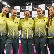 The Australian Fed Cup of (L-R) Alicia Molik, Sam Stosur, Casey Dellacqua, Jarmila Gajdosova and Olivia Rogowska at the official draw ceremony; Paul Zimmer/ITF