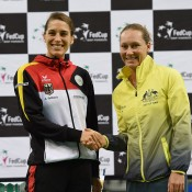 Sam Stosur (R) will take on Andrea Petkovic (L) in the second singles rubber; Paul Zimmer/ITF