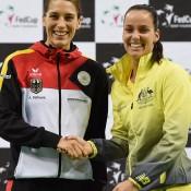 Jarmila Gajdosova (R) will take on Andrea Petkovic (L) in the second of the reverse singles rubbers; Paul Zimmer/ITF