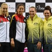 Germans Sabine Lisicki (far left) and Julia Goerges will take on Aussies Casey Dellacqua (far right) and Sam Stosur in the doubles rubber; Paul Zimmer/ITF
