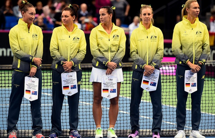 The Australian Fed Cup team of (L-R) Sam Stosur, Casey Dellacqua, Jarmila Gajdosova, Olivia Rogowska and captain Alicia Molik on court ahead of Day 1 of the Australia v Germany Fed Cup tie; Getty Images