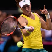 Sam Stosur in action during her singles rubber loss to Andrea Petkovic during the Australia v Germany World Group 2015 first round tie in Stuttgart, Germany; Getty Images