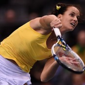 Jarmila Gajdosova in action during her opening singles rubber victory over Angelique Kerber in the Australia v Germany Fed Cup tie; Getty Images