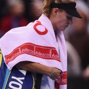 Angelique Kerber leaves Porsche Arena in Stuttgart following her loss to Australia's Jarmila Gajdosova in their Fed Cup singles rubber; Getty Images