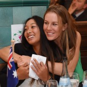 Aussie orange girl Priscilla Hon (left) and Olivia Rogowska at the Fed Cup official team dinner; Paul Zimmer/ITF