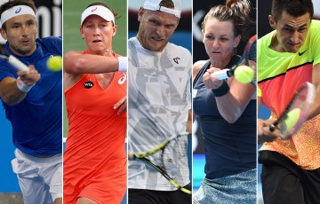 (L-R) Marinko Matosevic, Sam Stosur, Sam Groth, Casey Dellacqua and Bernard Tomic will fly the Aussie flag at events around the globe this week; Getty Images