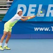 Thanasi Kokkinakis in action at the ATP Delray Beach Open; CameraSport