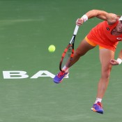 Sam Stosur in action during her second round loss to Caroline Wozniacki at the Dubai Duty Free Tennis Championships; Getty Images
