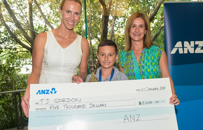 ANZ Hot Shot of the Year winner TJ Gordon (centre) with Alicia Molik (left) and ANZ's Carolyn Bendall; Tennis Australia
