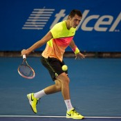 Bernard Tomic in action during his second-round defeat of Benjamin Becker at the ATP event in Acapulco; photo credit/Mextenis