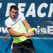 Bernard Tomic in action at the ATP Delray Beach Open; CameraSport