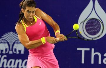 Ajla Tomljanovic in action during her second-round defeat of Jarmila Gajdosova at the WTA Pattaya Open; photo credit/KORBPHUK PHROMREKHA