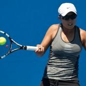 Alison Bai in action at the Australian Open 2015 Play-off; Elizabeth Xue Bai