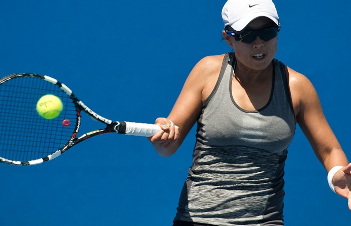 Alison Bai in action at the Australian Open 2015 Play-off; Elizabeth Xue Bai