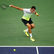 Bernard Tomic in action during his fourth-round defeat of compatriot Thanasi Kokkinakis at the 2015 BNP Paribas Open in Indian Wells, California; Getty Images