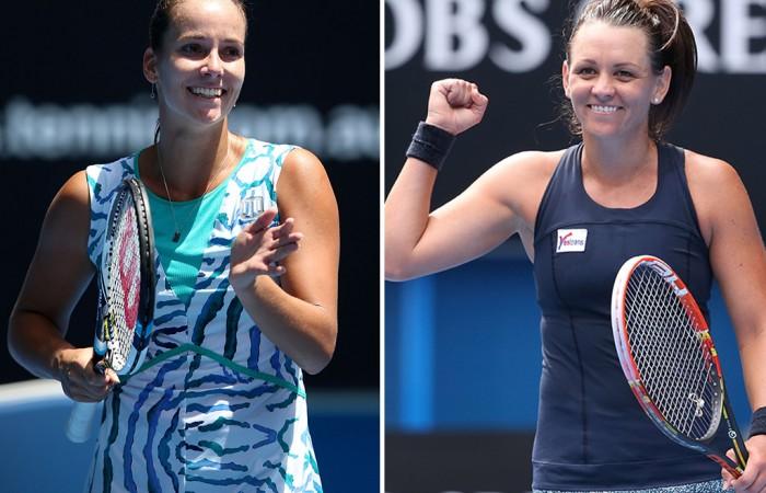 Casey Dellacqua (R) and Jarmila Gajdosova will contest this week's WTA Malaysian Open in Kuala Lumpur; Getty Images