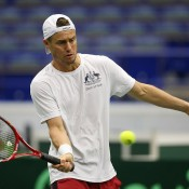 Lleyton Hewitt trains ahead of Australia's Davis Cup World Group first round tie against the Czech Republic in Ostrava; photo credit Pavel Lebeda