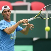 Thanasi Kokkinakis trains ahead of Australia's Davis Cup World Group first round tie against the Czech Republic in Ostrava; photo credit Pavel Lebeda