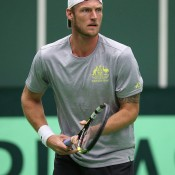 Sam Groth trains ahead of Australia's Davis Cup World Group first round tie against the Czech Republic in Ostrava; photo credit Pavel Lebeda