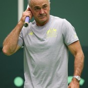 Captain Wally Masur watches on as his Australian team trains ahead of its Davis Cup World Group first round tie against the Czech Republic in Ostrava; photo credit Pavel Lebeda