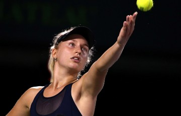 Daria Gavrilova in action during her second round victory over Maria Sharapova at the Miami Open; Getty Images