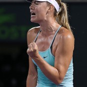 Maria Sharapova in action during her second round loss to Daria Gavrilova at the Miami Open; Getty Images